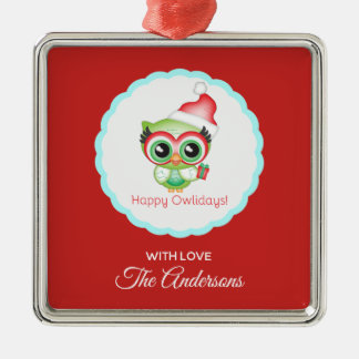 Happy Owlidays Christmas Santa Hat Holiday Owl Metal Ornament