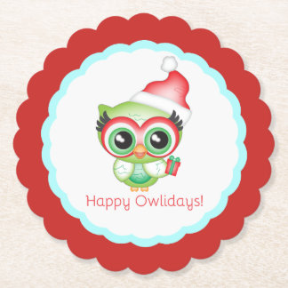 Happy Owlidays Christmas Santa Hat Holiday Owl Paper Coaster