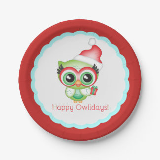 Happy Owlidays Christmas Santa Hat Holiday Owl Paper Plate