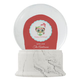 Happy Owlidays Christmas Santa Hat Holiday Owl Snow Globe
