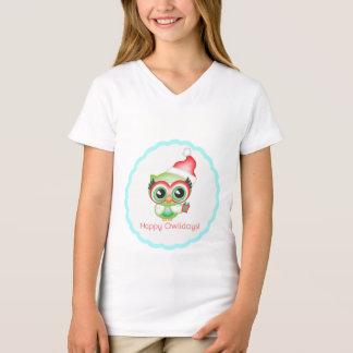 Happy Owlidays Christmas Santa Hat Holiday Owl T-Shirt