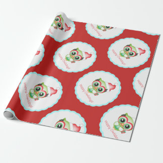 Happy Owlidays Christmas Santa Hat Holiday Owl Wrapping Paper