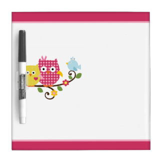 Happy Owls/Birds/Flowers Dry Erase Board