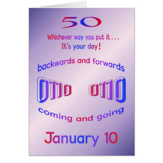 Happy Palindrome Birthday 50 years old on 01/10 Greeting Card