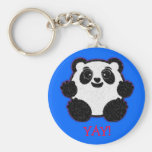 Happy Panda Basic Round Button Keychain