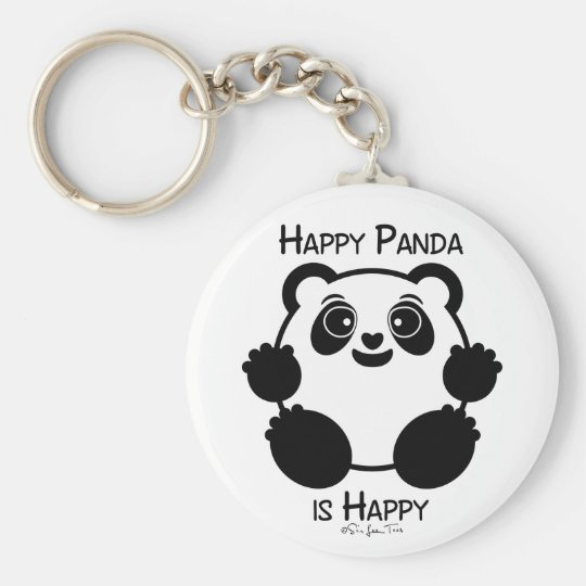 Happy Panda Basic Round Button Keychain