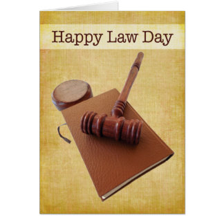 Happy Paralegal Day Gavel & Book on Brown Card