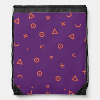 Happy Particles Purple Drawstring Bag