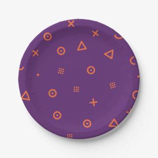 Happy Particles Purple Paper Plate