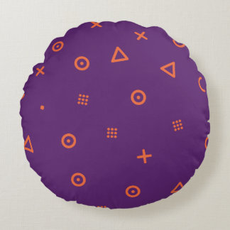 Happy Particles Purple Round Pillow