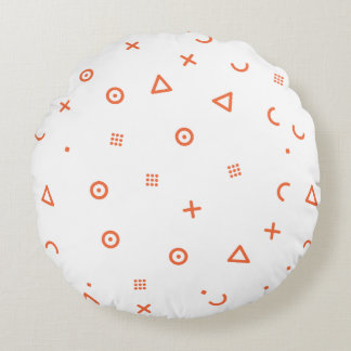 Happy Particles Round Pillow