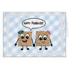 Happy Passover Cute Matzot on blue gingham Card