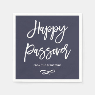 Happy Passover | Modern Midnight Blue and White Paper Napkins