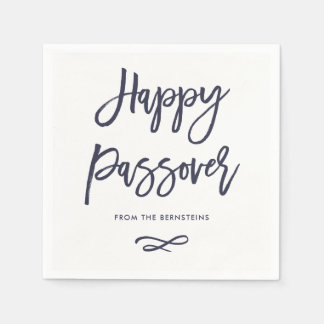 Happy Passover | Simple Modern Blue and White Disposable Napkin