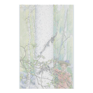 Happy Pastel Lady in Spring Woods Stationery
