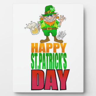 Happy Pat, Cartoon Leprechaun waving. Plaques