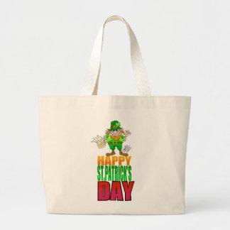 Happy Pat, Cartoon Leprechaun waving, tote bag.