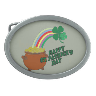 Happy Patrick s Day Oval Belt Buckle