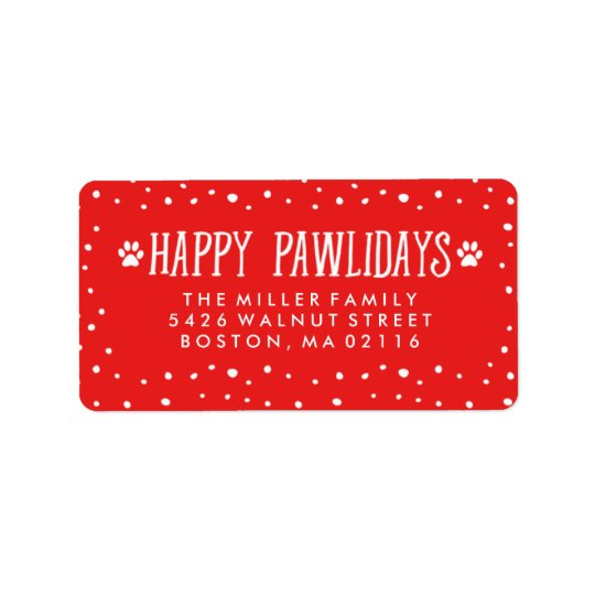 Happy Pawlidays | Red Holiday Address Label