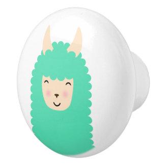 Happy Peekaboo Llama Emoji Ceramic Knob