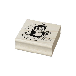 Happy Penguin Christmas Rubber Stamp