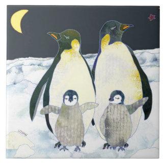 Happy Penguin Family Cute Animal Christmas Deco Tile