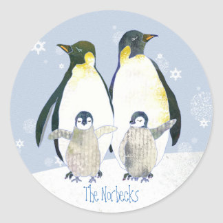 Happy Penguin Family Holiday Greetings Round Sticker