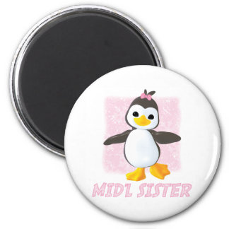 Happy Penguin Middle Sister 2 Inch Round Magnet