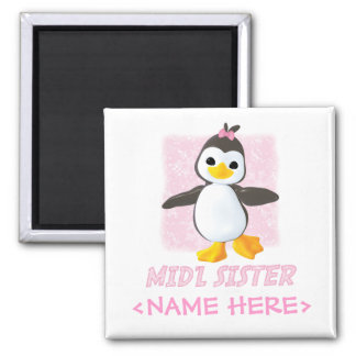 Happy Penguin Middle Sister Square Magnet
