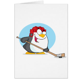 Happy-Penguin-Playing-Ice-Hockey Card
