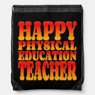Happy Physical Education Teacher in Cheerful Color Drawstring Bag