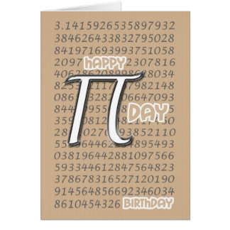 Happy Pi Day Birthday 3.14 March 14th Card