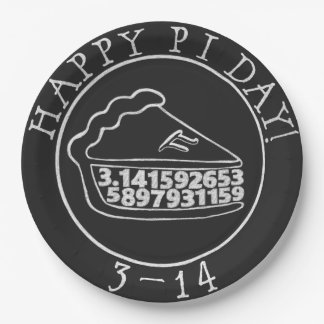 Happy Pi day chalkboard pie paper plates 9 Inch Paper Plate