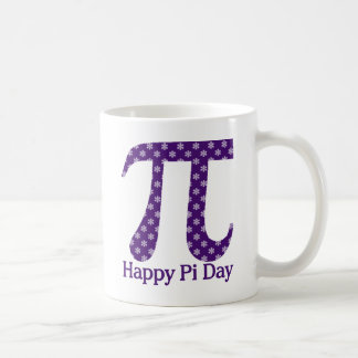 Happy Pi Day Lavendar Flowers on Purple Coffee Mug