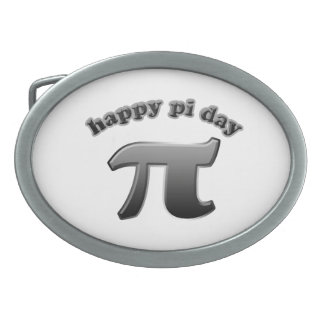 Happy Pi Day Pi Symbol for Math Nerds on March 14 Belt Buckles