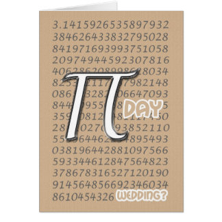 Happy Pi Day Wedding Congraulations 3.14 March 14t Card