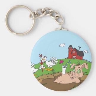 Happy Pig Basic Round Button Keychain