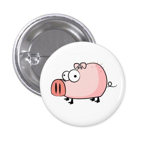 Happy Pig Cartoon Button