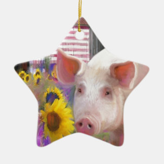 Happy Pig From West Marin Ceramic Star Ornament