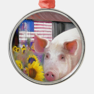Happy Pig From West Marin Silver-Colored Round Ornament