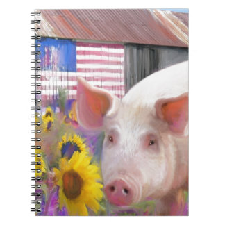 Happy Pig From West Marin Spiral Notebook