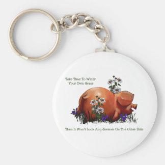 Happy Pig: Grass Not Greener On Other Side: Art Basic Round Button Keychain