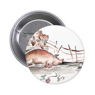 Happy Pig in Mud Casting Roses before Swine 2 Inch Round Button