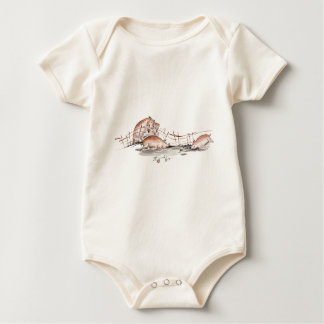 Happy Pig in Mud Casting Roses before Swine Baby Bodysuit