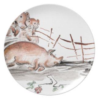 Happy Pig in Mud Casting Roses before Swine Dinner Plates