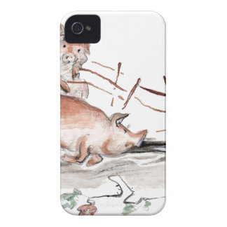 Happy Pig in Mud Casting Roses before Swine iPhone 4 Cover