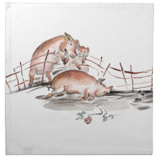 Happy Pig in Mud Casting Roses before Swine Napkins