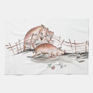 Happy Pig in Mud Casting Roses before Swine Towels