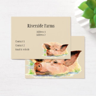 Happy Pig in Mud Farm Animal Business Business Card