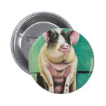 happy pig in pastel animal painting button